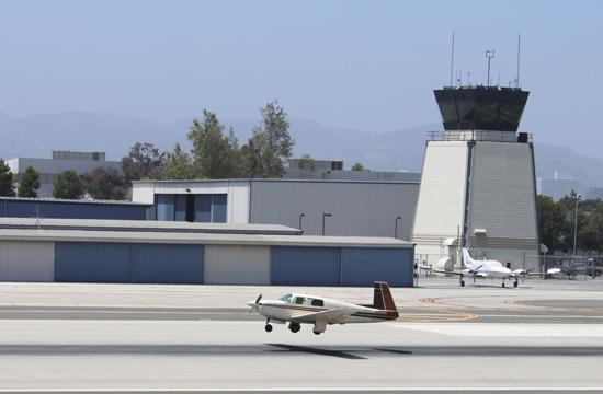 A plane takes off from Santa Monica Airport. A test flight-pattern change that redirected single-engine planes over residential areas ended on June 8.