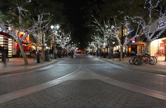 Lights line the trees on the Third Street Promenade