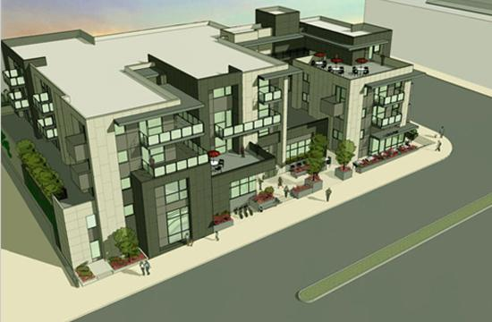 A rendering of the mixed-use project approved by the Planning Commission for 2919-2923 Wilshire Boulevard.