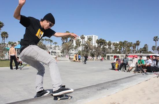 Dave Hactus demonstrates his skills on a ledge near Beach Park as part of the Globe at the Gaps competition