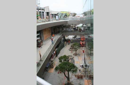 Work continues on all three levels of the new Santa Monica Place