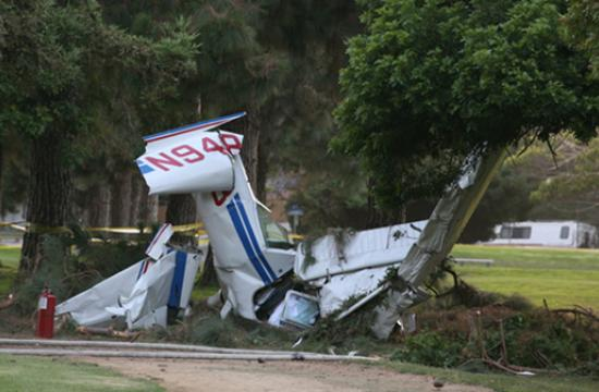 A high-wing Cesna 152 crashed at Penmar Park shortly after 6 p.m. Thursday