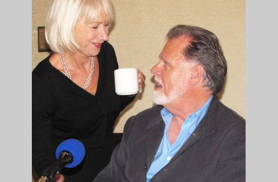 Helen Mirren brings husband Taylor Hackford a cup of tea during a recent press conference.