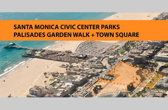 An areal look of the site for the Palisades Garden Walk and Town Square in Santa Monica.