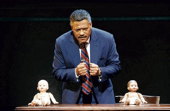 Laurence Fishburne as Thurgood Marshall demonstrates that segregation creates self-loathing in black children as they always chose the white doll to play with.