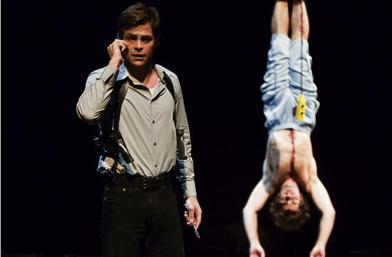 "Left to Right: Chris Pine and Brett Ryback in ""The Lieutenant of Inishmore."""