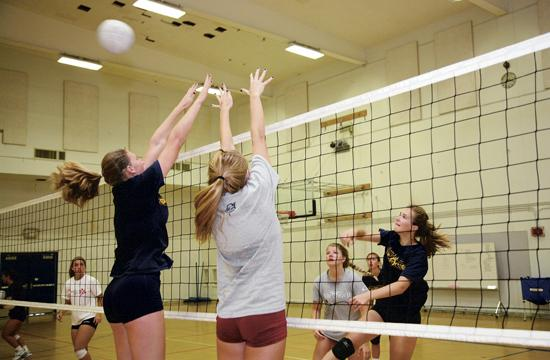The Viking volleyball team is in summer training in preparation for their August tournament in Hawaii.