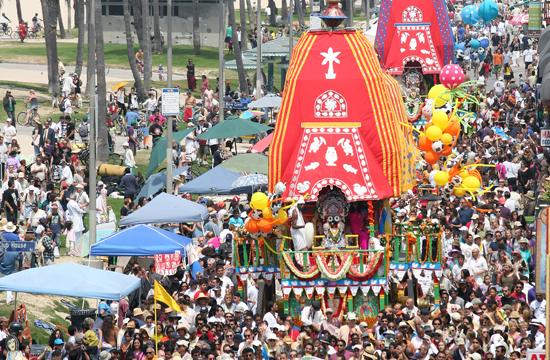Thousands of International Society for Krishna consciousness (ISKCON) devotees and community members helped pull three 40-foot-tall floats along the Venice Boardwalk to the Ocean Front Walk Plaza at Windward Avenue in Venice for the 34th annual Festival of the Chariots on Sunday