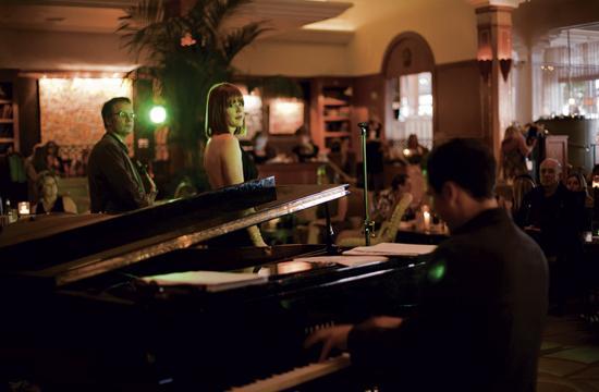 Actress Molly Ringwald performing at Casa Del Mar with a jazz combo.