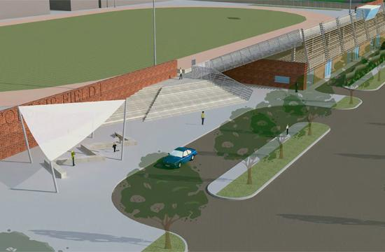Designer's conceptual rendering of the Drop Off Plaze of the yet-to-be built