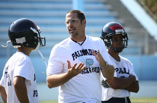 Pali High new head football coach Perry Jones works with his players
