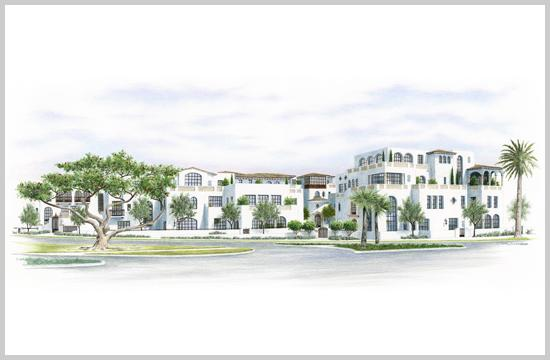 A conceptual rendering of a proposed 20-unit condominium complex to be built at 301 Ocean Avenue by 301 Ocean Development LLC. It would include Spanish revival style buildings oriented around a 5