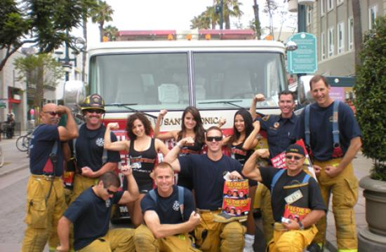Santa Monica Fire Fighters seen here at the Promenade with some of the girls from Hooters.