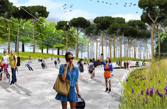 Concept graphic for the The Arroyo Wash theme design for the Palisades Garden Walk and Town Square