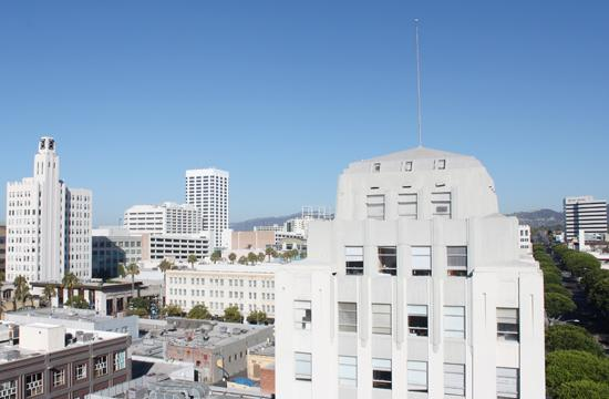 Downtown Santa Monica as seen looking northwest atop Parking Structure No. 5.