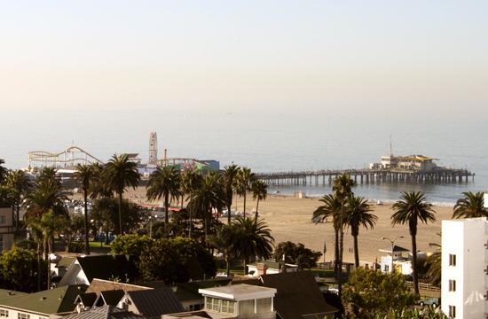 The Santa Monica Pier extends from the city's beach.