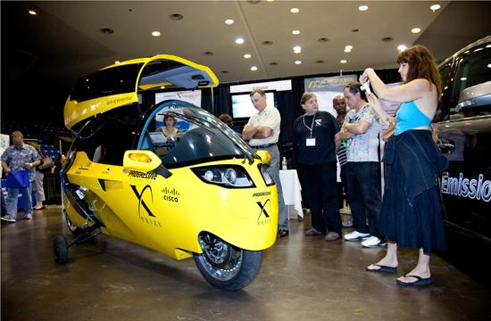 he flaming yellow XPrize car won grand awards recently and was a huge photo favorite at the AltCar Expo.