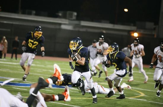 Samohi running back Kori Garcia led a rush for the Vikings late in the fourth quarter. The Vikings lost their homecoming game against Beverly Hills 19-12 at Corsair Field on Friday