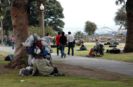 Palisades Park, which overlooks the Santa Monica Pier seen in the background, is not only a popular destination for tourists but also for many the cities estimated 2,300 to 3,000 homeless individuals.