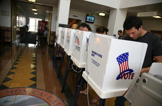 People voted at City Hall on Tuesday