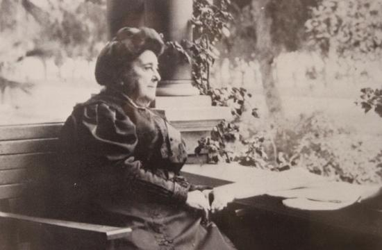 Arcadia Bandin sits on the porch of her Ocean Avenue home in Santa Monica.