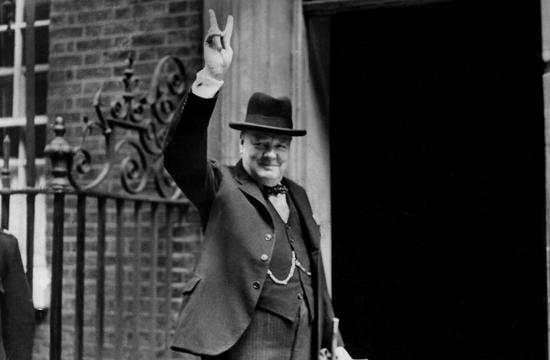 Churchill outside of 10 Downing Street
