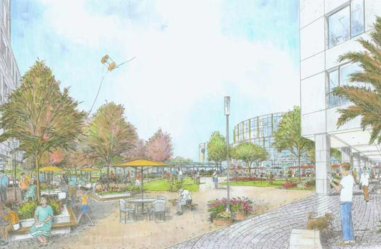An artist's rendering of the Bergamot Transit Village as proposed by Hines.