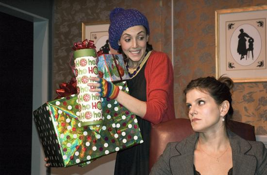 Samantha Whittaker as Ms. Crachet and Heather Stewart as Mrs. Scrooge.