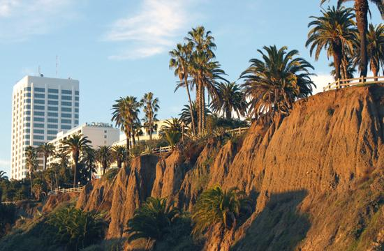 The view from Pacific Coast Highway of the newly stabilized Palisades Bluffs.