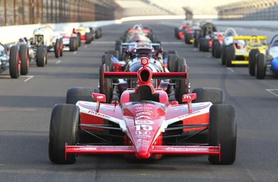 An IndyCar on the Indianapolis Motor Speedway.