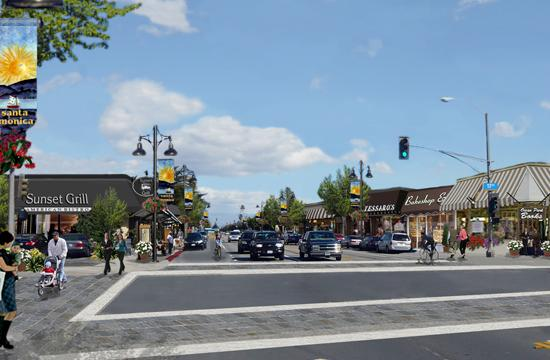 A conceptual rendering of what some of Santa Monica's Streetswould look like if developed with LUCE principles - this image depicts the intersection of Ocean Park Boulevard and 17th Street.