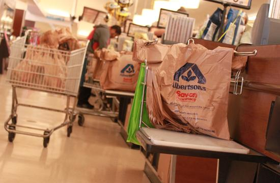 Single use plastic bags are seen here at a Santa Monica Albertsons in February. These bags are scheduled to be banned from stores like this starting in September 2011.