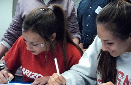 Santa Monica High School girls soccer players Julia Glanz and Elizabeth Lyons sign letters of intent to play NCAA Div. 1 soccer. Glanz will be a Univ. of Arizona Wildcat