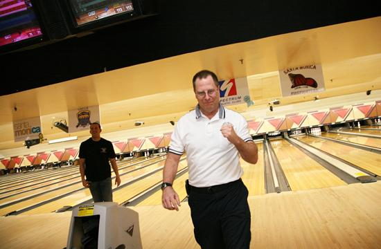 Former Santa Monica Fire Chief Jim Hone celebrates a strike during the SuperBowl-A-Thon XIV (photo from last year's event)
