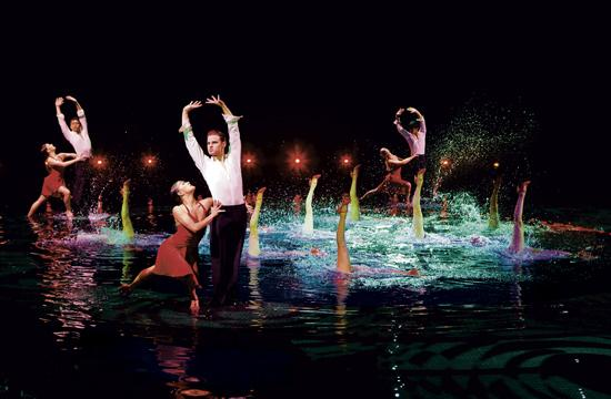 "A dazzling water ballet in the Wynn Hotel's aquatic production of ""Le Rêve."