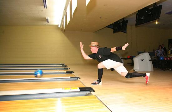 Santa Monica Fire Chief Scott Ferguson bowls in style at theSuperBowl-A-Thon at the AMF Bay Shore Lanes on Friday