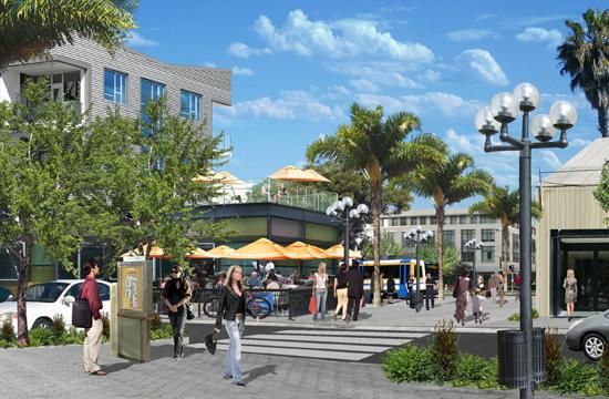 Rendering of Bergamot Village area