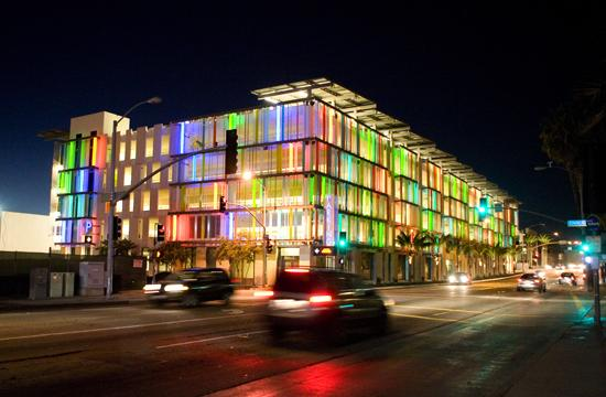 Civic Center Parking Structure illuminated at night along Fourth Street in Santa Monica