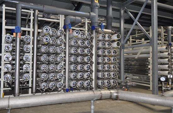 Reverse osmosis filtration membrane system at the new Santa Monica Water Treatment Plant located at 1228 South Bundy Drive.