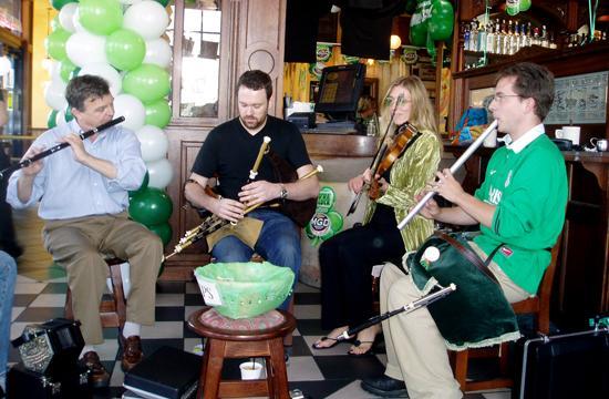 St Patrick's Day Music at Finn McCool's Irish Pub on Main Street in Santa Monica.