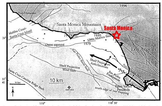 Fault map of Santa Monica Bay and vicinity as provided by USGS and SCEC (1994). Approximate Santa Monica Location indicated in red.