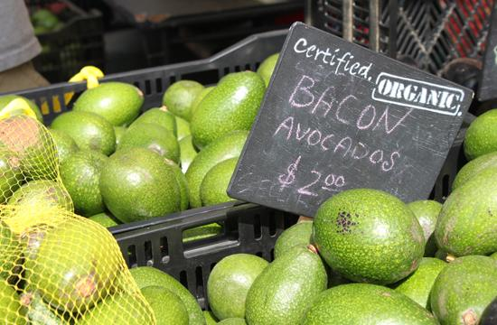 The winder varieties of avocados are near the end of their season at the Santa Monica farmer's market.