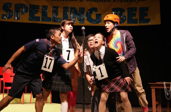 The ensemble cast of Putnam County Spelling Bee: (l to r)Ryyn Chua