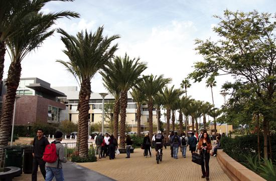 Students at Santa Monica College seen here in between classes.