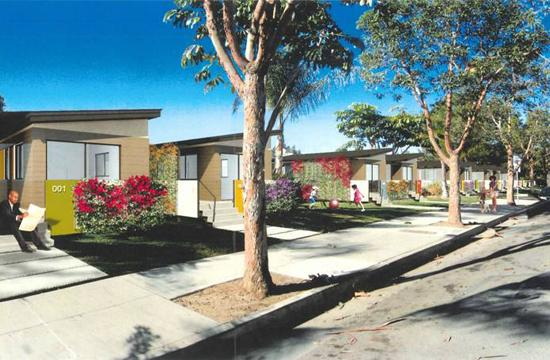 A conceptual rendering of the look of some prefabricated mobile homes as proposed by Cavco Industries Inc./Marmol Radziner Prefab. for the replacement of rental units at Mountain View Mobile Inn