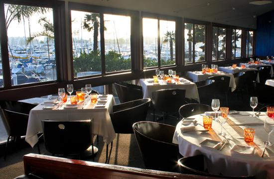 The dining area with a spectacular view of the Marina del Rey