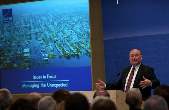 """Admiral Thad Allen spoke in Santa Monica at RAND's """"Issues in Focus: Managing the Unexpected"""" on April 19"""