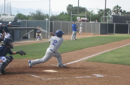 Senior Andres Leyva gets a hit in the Roadrunners' game against Montclair Prep on Wednesday.