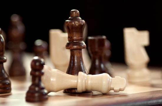 Pieces on a chess board