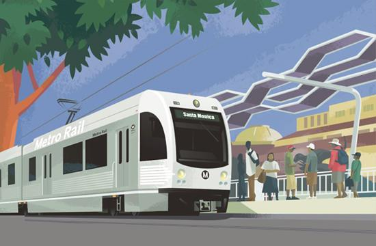 Concept art for the Exposition Light Rail coming to Santa Monica.